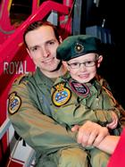 Captain Martin Roskilly Royal Marines (pilot) and his son (future pilot!)