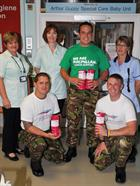 Cpl's Paul Davy, Tom Brownhill and Lee Flynn and Nurses from Yeovil Hospital