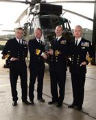 L to RCdr James Newton DFC RN, Admiral Cunningham CBE, Lt Cdr Ed Adams, Capt Matt Briers