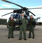 Prince Michael with CPO Andy Vanes (L) and Lt Cdr Ric Fox (R)