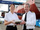 R Adm Steve Brunton and Leading Writer Claire Butler with her cap tally