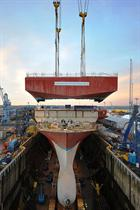 Queen Elizabeth Upper Bow being lifted into position