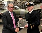 Mr Rick Wellesley (AgustaWestlands) presents the Westland prize to S/Lt Simon Jones RN
