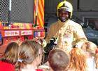 Culdrose Fireman, Naval Airman Amron Creese and Children