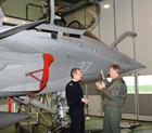 Capt Mark Garratt being briefed on The Rafale fighter