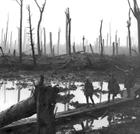 British troops cross duckboards at Passchendaele, Autumn 1917